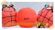 Souvenir Bantal Bordir Bulat tema Bola Basket ( Boys )